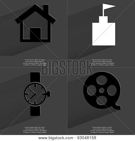 House, Flag Tower, Wrist Watch, Videotape. Symbols With Long Shadow. Flat Design