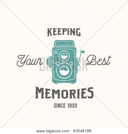 Vintage Camera Photography Vector Label, Card or a Logo Template with Retro Typography and Texture