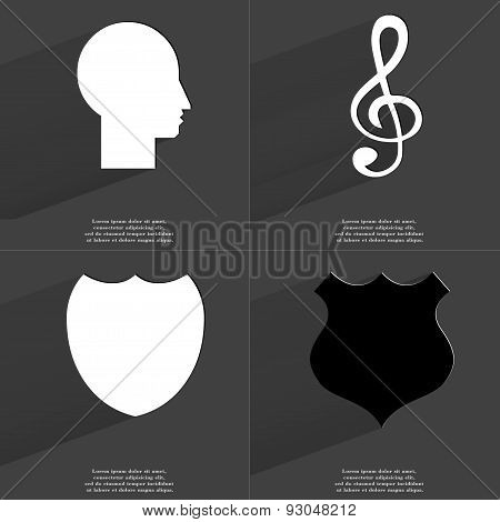 Silhouette, Clef, Police Badge. Symbols With Long Shadow. Flat Design