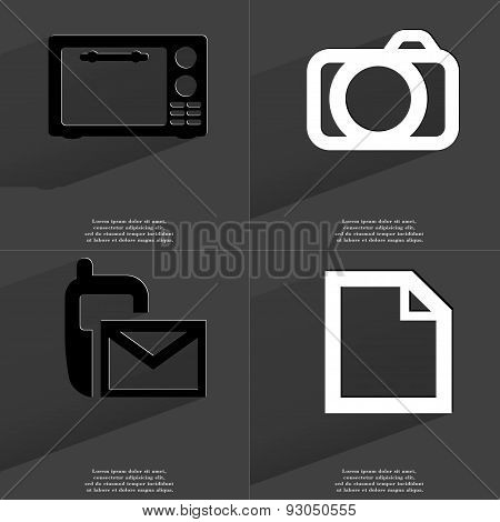 Microwave, Camera, Sms Icon, File Icon. Symbols With Long Shadow. Flat Design