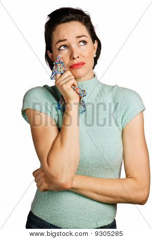 Beautiful Woman Wiping Tears With Handkerchief