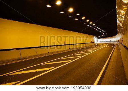 inside a road tunnel