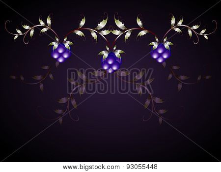 Pattern of blackberries on a purple base. EPS10 vector illustration