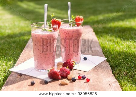 Fruity Berry Milkshake Outdoors