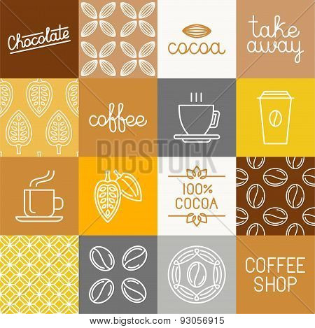 Vector Chocolate, Cocoa And Coffee Icons