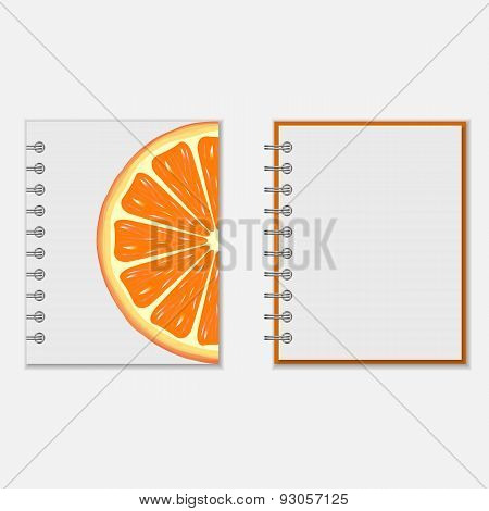 Notebook cover design with bright orange