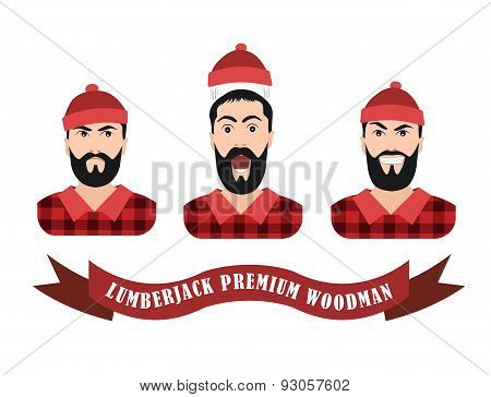 Vector Illustration of a lumberjack forester logger  with scroll done in retro style