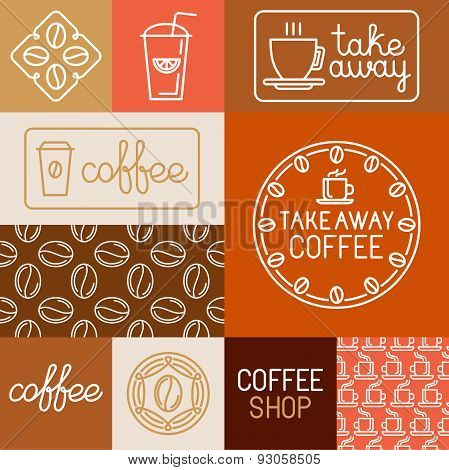 Vector Set Of Design Elements For Coffee Houses And Shops