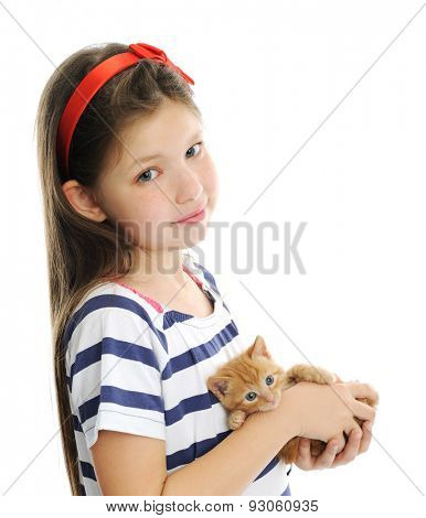 girl with red kitty