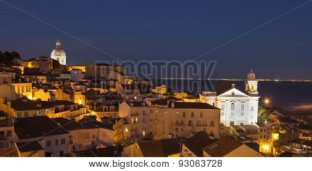 View Of Alfama In Lisbon At Night