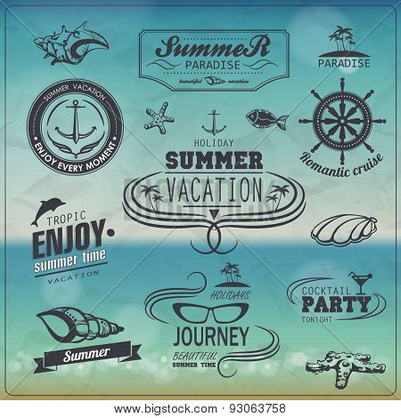 Set Of Vintage Summer Typography Design With Labels, Icons Elements