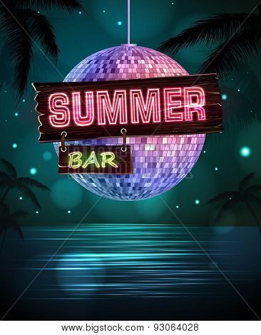 Summer Disco Background. Disco Poster