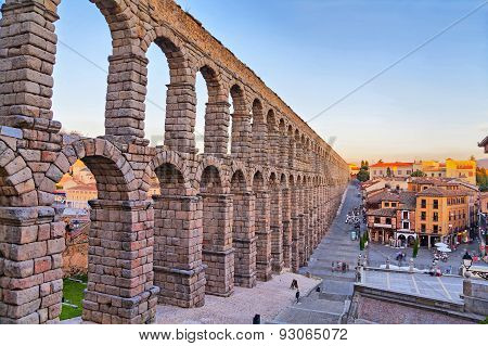Ancient Roman aqueduct in Segovia Spain