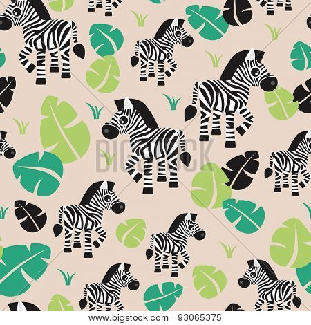 Seamless kids zebra animal jungle zoo illustration green leaf garden illustration background pattern in vector