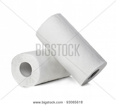 Rolls Of Paper Towels, Isolated On White Background