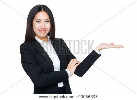 Businesswoman with open hand palm