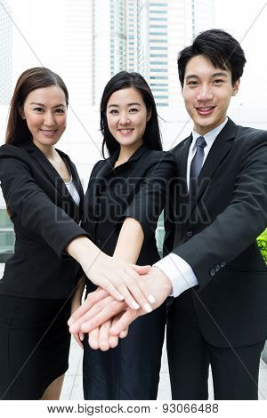 Group of business team mate work together