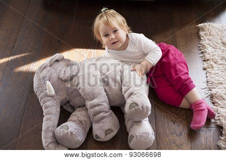 Baby Flying With Elephant Plush Doll