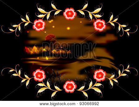 Mountains, lake and ornament on dark moonlit night. EPS10 vector illustration