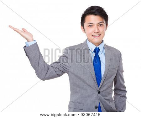 Businessman with hand show with blank sign