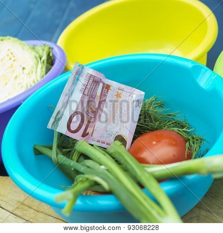 European Currency And Vegetables