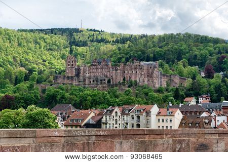 Ruins of the Renaissance Schloss or castle on the hillside overlooking Heidelberg, Germany, an important historical structure and popular tourist attraction