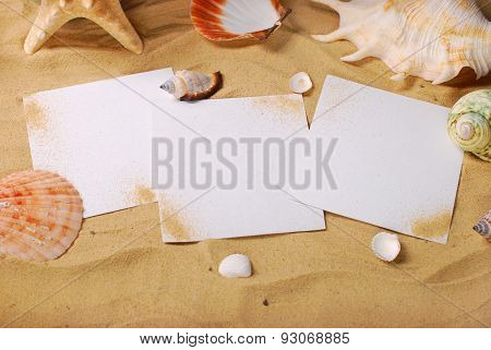Summer Holidays Background With Blank Cards On The Beach