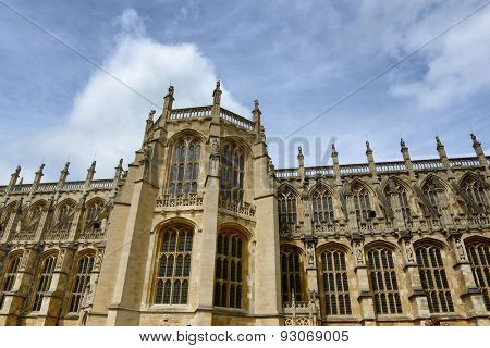Ornate Gothic 15th century facade of St Georges Chapel in Windsor Castle, UK, the official residence of the Queen and famous tourist attraction