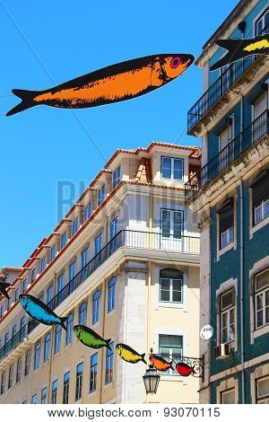 Street Of Lisbon Decorated With Sardines