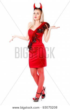 Misunderstanding Young Woman In A Devil Costume