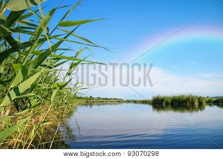 Rainbow On River Landscape