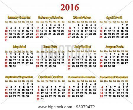 Calendar For 2016 In English And French On White