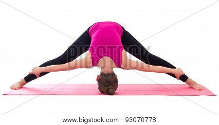 Slim Woman Doing Stretching Exercise On Yoga Mat Isolated On White