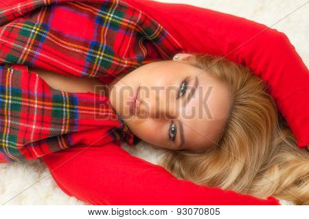 Pretty Blonde Girl In Christmas Red Robe & Scarf