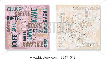 Decorative panels coffee in different languages