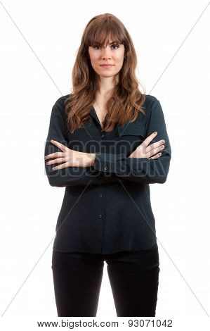 Tall Pretty Female Model Arms Crossed Angry Isolated White Background