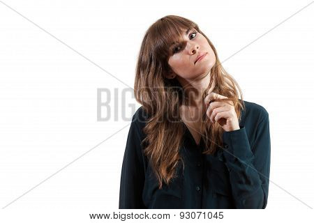Pretty Female Model Playing With Hair Playfully Isolated White Background.