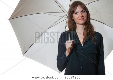 Pretty Brunette Holding White Umbrella