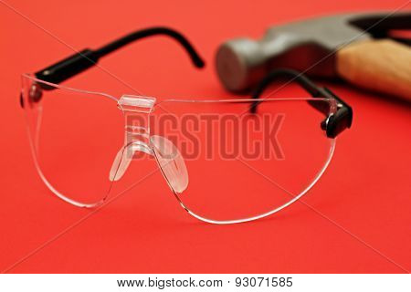 Safety Glasses On Red