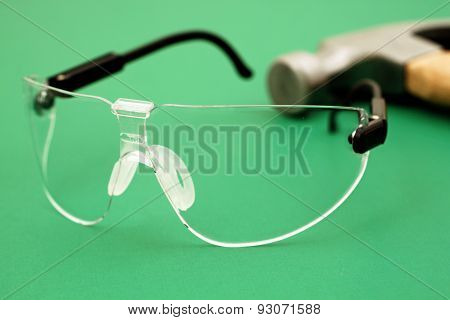 Safety Glasses On Green