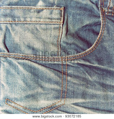 Blue Denim Jeans Texture With Pocket Close-up.