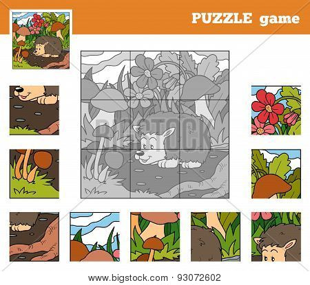 Puzzle Game For Children With Animals (hedgehog)