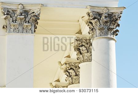 Architecture, Classical Columns Against Blue Sky