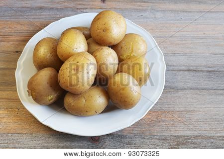 Boiled Potatoes In Their Skins On A Plate