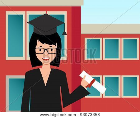 Happy girl graduate hold diploma. Vector illustration