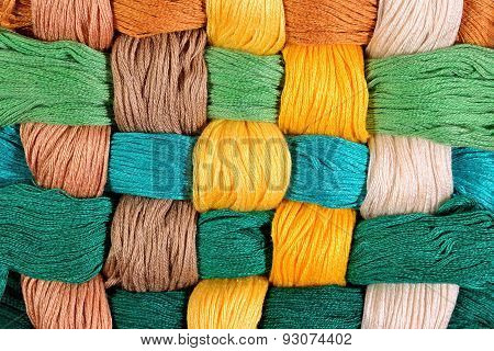 Colorful Twisted Skeins Of Floss As Background Texture