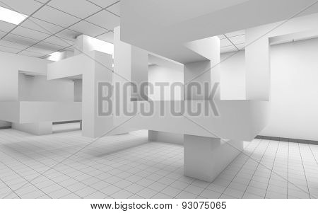 Abstract White Office Room Interior, 3 D