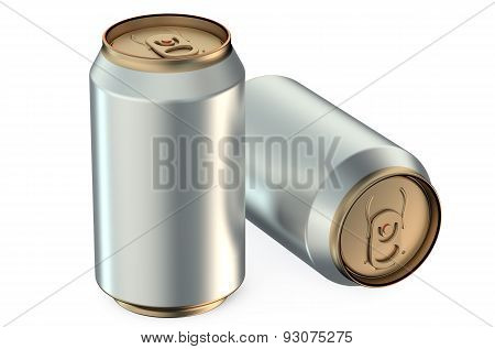 Two Metallic Beer Cans