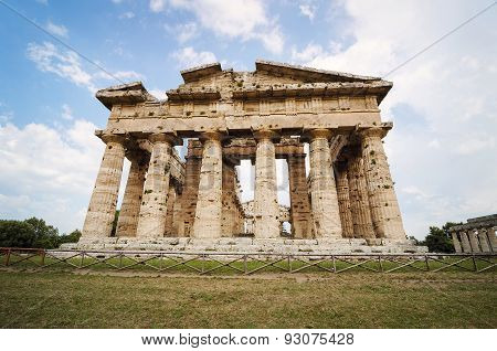 Temple Of Neptune The Famous Paestum Archaeological  Site In Italy