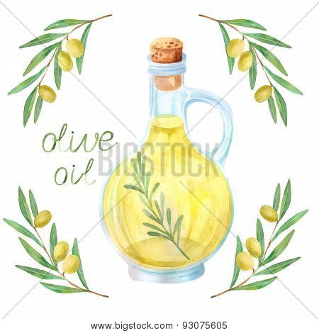 Watercolor extra olive oil bottle and olives with leaves